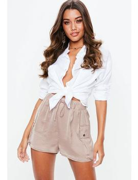 Rose Ultimate Satin Short Utility Shorts by Missguided