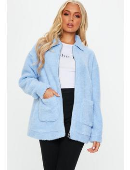 Blue Oversized Borg Zip Through Jacket by Missguided