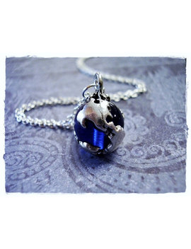 Sapphire Blue Earth Globe Necklace   Antique Pewter Sapphire Blue Earth Globe Charm On A Delicate Silver Plated Cable Chain Or Charm Only by Etsy