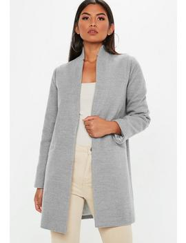 Grey Inverted Collar Formal Coat by Missguided