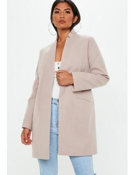 Nude Inverted Collar Formal Coat by Missguided