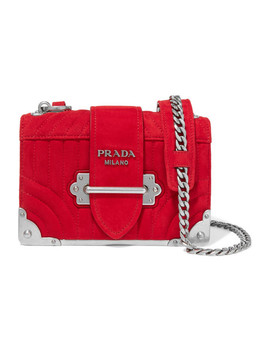 Cahier Mini Quilted Suede Shoulder Bag by Prada