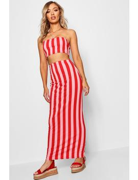 Candy Stripe Jersey Maxi Skirt by Boohoo