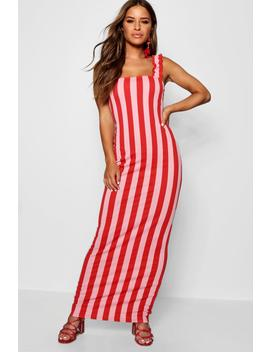 Petite Ruffle Strap Striped Jersey Maxi Dress by Boohoo