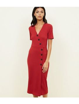 Red Ribbed Button Wrap Front Midi Dress by New Look