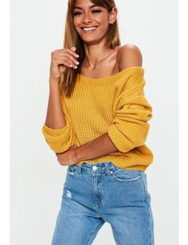 Mustard Yellow Crop Off Shoulder Sweater by Missguided