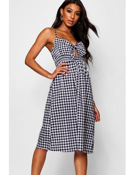 Gingham Tie Front Cotton Mix Midi Dress by Boohoo