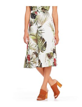 emily-twill-tropical-palm-floral-print-button-front-flounce-hem-coordinating-midi-skirt by generic