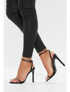 Black Pointed Toe Barely There Patent Heels by Missguided