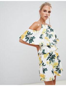 Asos Design High Neck Skater Mini Dress In Floral Print by Asos Design