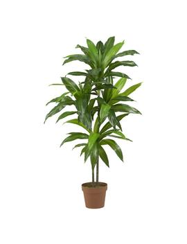 Real Touch 48 In. H Green Dracaena Silk Plant by Nearly Natural