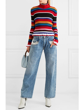 Striped Ribbed Wool Blend Turtleneck Sweater by Msgm