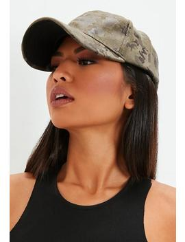 Khaki Camo Print Cap by Missguided