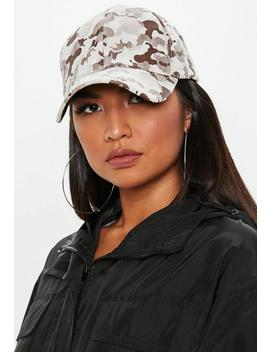 Stone Camo Print Cap by Missguided