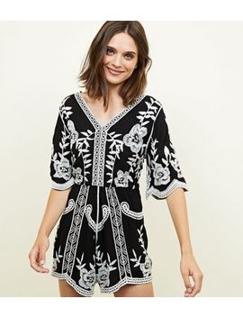 Black Floral Crochet Embroidered Playsuit by New Look