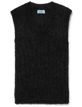 Ribbed Mohair Blend Vest by Prada