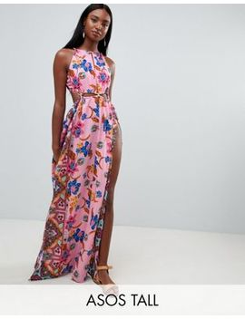 Asos Design Tall Rope Trim Cut Out Paisley Print Plunge Beach Maxi by Asos Design
