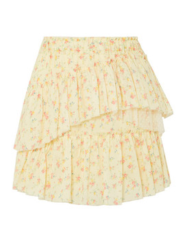 Genevieve Tulle Trimmed Floral Print Cotton Mini Skirt by Love Shack Fancy