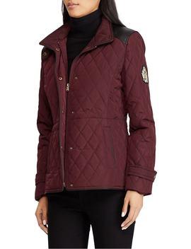 Quilted Faux Leather Trim Jacket by Lauren Ralph Lauren
