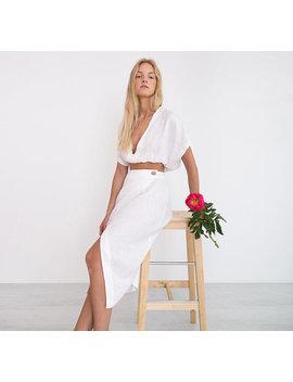 Leah Linen Crop Top / White Linen Top / Simple Linen Top by Etsy