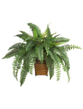23 In. Boston Fern Silk Plant With Wicker Basket by Nearly Natural