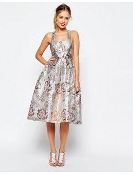 Asos Salon Metallic Jacquard Midi Prom Dress by Asos Salon