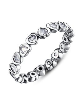 Bamoer 925 Sterling Silver Open Heart Stackable Compatible Jewelry Ring For Women With Cz Size 6 9 by Bamoer