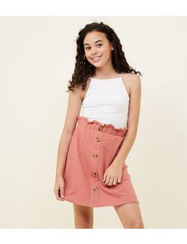 Girls Coral Button Front Paperbag Skirt by New Look