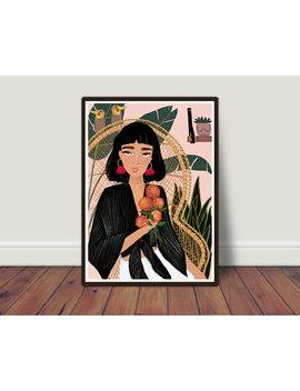 Boho Home Illustration, Woman Illustration, Plant Illustration, Illustration Art, Art Print, Fashion Illustration, Girl Art, Painting Giclee by Etsy
