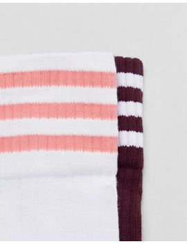 Adidas Originals Crew Sock Pack In White And M Aroon by Adidas