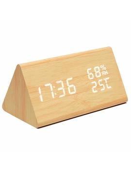 Mucjun Digital Alarm Clock,Voice Control Wooden Alarm Clock Electric Led Light Minimalist Batteries Or Usb Charger Triangle Clock Display Time Date Humidity Temperature Bedside Clock   Bamboo by Mucjun