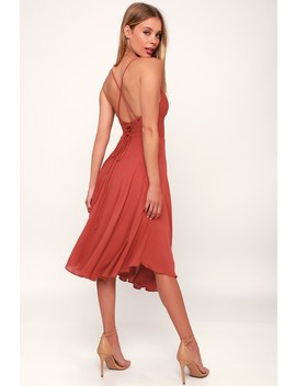 Troulos Rust Red Lace Up Midi Dress by Lulu's