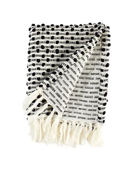 "Rivet Bubble Textured Lightweight Decorative Fringe Throw Blanket, 48"" W X 60"" L, Black And Cream by Rivet"