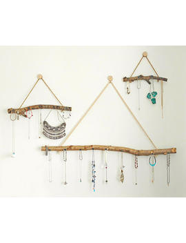 Boho Wall Hanging Jewellery Display Organiser Storage  Natural Branch Set Of 3 by Etsy