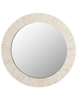 "Ivory Mother Of Pearl 24"" Round Mirror by Pier1 Imports"