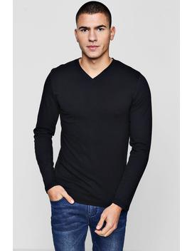 Long Sleeve V Neck T Shirt by Boohoo