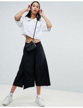 Weekday Side Split Wide Leg Crop Trouser In Black by Weekday