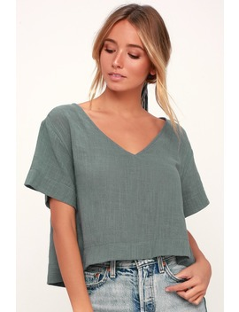 Signorina Grey Short Sleeve Top by Lulu's