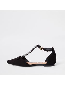 Black Jewel Pointed Strappy Shoes by River Island