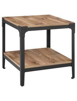 Angle Iron Rustic Wood End Table (Set Of 2)   Saracina Home by Saracina Home