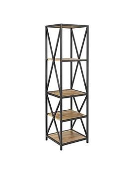 "Metal X Tower With Wood Shelves 61""   Saracina Home® by Saracina Home"