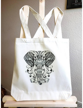 Be Strong Elephant Mandala Tote by Etsy