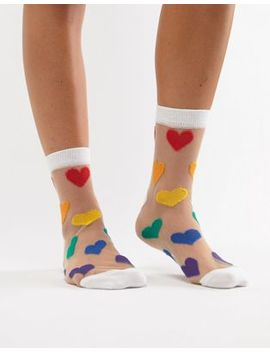 Asos Design Sheer Rainbow Heart Ankle Sock by Asos Design