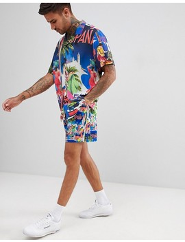 Asos Design Co Ord Slim Shorter Shorts With Elasticated Waistband In Tropical Postcard Print by Asos Design