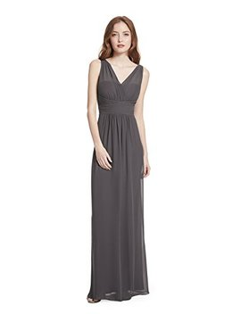 Samantha Paige V Neck Illusion Pleated A Line Chiffon Formal Dress by Samantha Paige