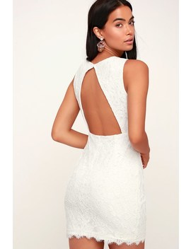 Rhythm Of Love White Lace Backless Bodycon Dress by Lulu's