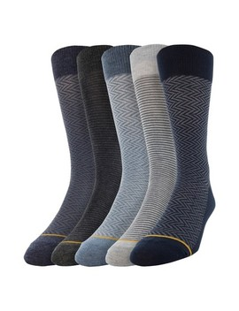Signature Gold By Goldtoe Men's Dress Crew Socks 5pk   Blue 10 13 by Signature Gold