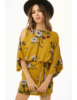Floral Open Shoulder Kimono Sleeve Dress by Forever 21
