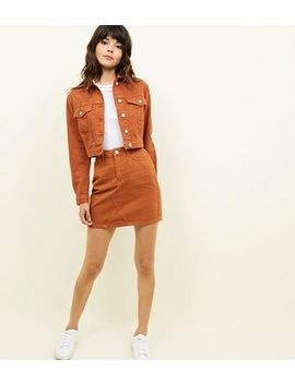 Rust Cropped Denim Jacket by New Look