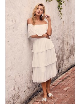 Gala Ready White Off The Shoulder Ruffle Midi Dress by Lulu's